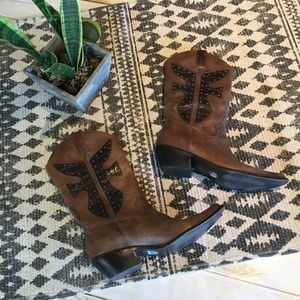 Matisse leather studded Boots in brown